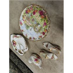 Royal Albert- Old Country Rosed - Leaf Shaped Pickle  Dish , 2 Shoe Toothpick Holders, 25th Annivers