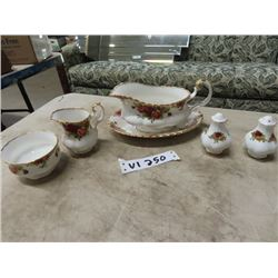Royal Albert  Old Country Roses -Gravy Boat, Salt & Pepper Shakers,   Cream & Sugar - All Exec Condi