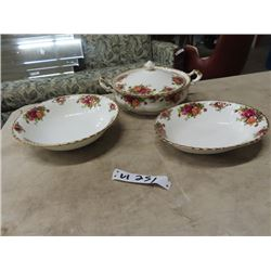 "Royal Albert Old Country Roses- Oval Serving Dish  &  Bowl - 9.5"" Rd, Covered Serving Dish 9"" Rd - A"
