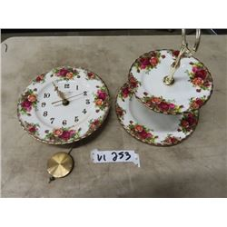 Royal Albert -Old Country Roses Clock & 2 Tier Dainty Tray/Server- All Exec Condition