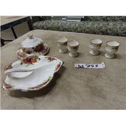 Royal Albert Old Country Roses, 4 Egg Cups, Leaf Shaped Pickle Dish, Covered Butter Dish, China Flow