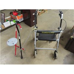 Handi Lite Medi Walker & 3 Canes - 1 Is A Cane Stool Combo