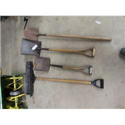 2 Shovels, Spade & Snow Push Shovel