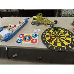 Toys - Dart Board, Lumer Grader, Metal Popeye Target ,  & Plastic Boat