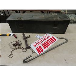 1944 Canadian Military Ammo Box, Leg Traps, 1 is good, 1 is Broken, Metal No Hunting Sign & Metal Ho
