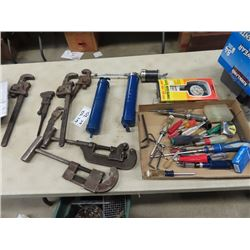 5 Pipe Wrenches, 2 Pipe Cutters, Air Grease Gun, Compression Tool, & Screwdrivers