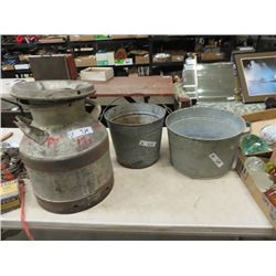 Cream Can, Galvanized Tub & Galvanized Pail