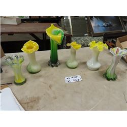 "6 Murano Vases, Blown Glass Tallest one is 11""H"
