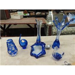 6 Blown Glass - Murano?? Vases/Centerpieces