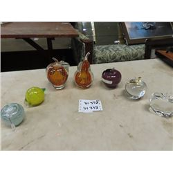 7 Pcs of Murano Fruit Paper Weights