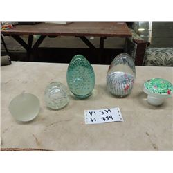 5 Murano Paper Weights- 2 Large , Fruit & Mushroon