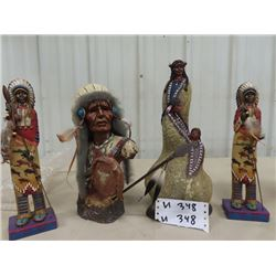 "4 Native Statues 12"" to 15"" H"