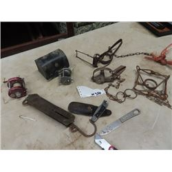 Brass Fishing Scale, 2 Old Reels- both Ambassador, 3 Traps, 2 Buck Knives, Military US Knife- Vintag