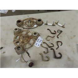 Cast/Ornate Light Fixtures, & Coat Hooks- Vintage