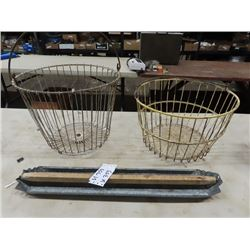 2 Egg Baskets & Chicken Feeder