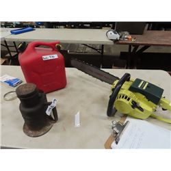 Pioneer Mdl 1074 Chainsaw, Ratchet Building Jack & Gas Can