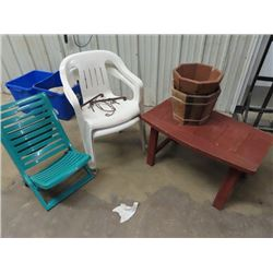 3 Patio Chairs, Wooden Yard Table, 2 Planters, &  Plant Hangers