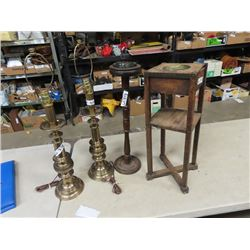 2 Brass Lamps, & 2 Wooden Ashtray Stands
