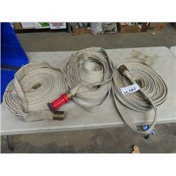 3 Lengths Fire Hose w Nozzles