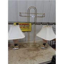 2 Modern Lamps & Brass Gentleman's Stand