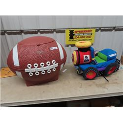 Child's Football Toy Box, & Infant Train Cushion Seat