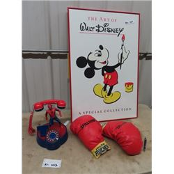 Spiderman Phone, Pillow Punching Gloves & Mickey Mouse/Walt Disney Picture