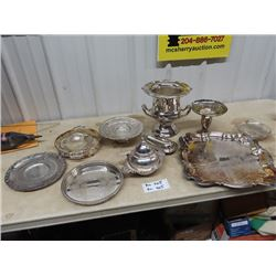 Silverware - 2 Covered Butter Dishes, Wine Cooler Server Trays, Coffee & Teapot