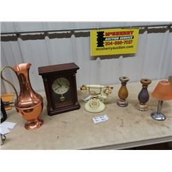 Mantle Clock, French Phone, Candle Holders, Copper Vase Pitcher Style