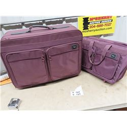 Set of 2 American Tourists Luggage & Folding Leg Table