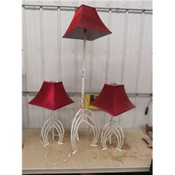 Funky 3 Pc Lamp Set- Wrought Iron , (2 Table & 1 Floor)