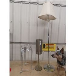 "Wrought Iron Stand 23""H 10""RD, Table & Floor Lamp"