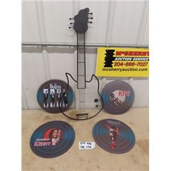 Metal Wall Display, 4 Round Roack Bank Wall Displays/Pictures