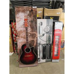 "Pictures - Guitar 19"" X 59"" - Typewriter & Phone 16"" X 48"" , Old English Payphone 8"" x 45"""