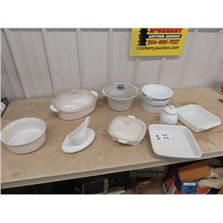 Large Amount of White Cooking Dishes, Casserole Gravy Boats, Baking Pans, Garlic Holder, Serving Dis