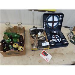 Picnic Basket Set w Dishes, Camera, Radio,Milk Bottles, Vase & More
