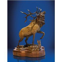 "Magnificent bugling elk bronze entitled ""Wapiti"""