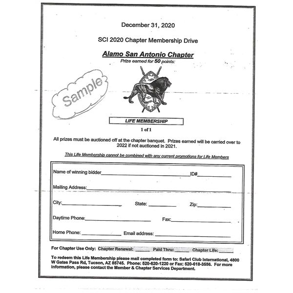Safari Club International and Alamo Chapter Life Membership