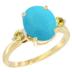 2.64 CTW Turquoise & Yellow Sapphire Ring 10K Yellow Gold - REF-30F5N