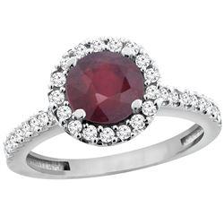 1.43 CTW Ruby & Diamond Ring 14K White Gold - REF-53H3M