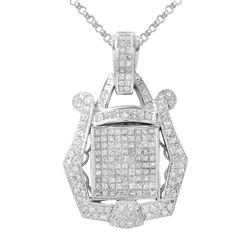 Natural 3.65 CTW Diamond & Princess Diamond Pendant 18K White Gold - REF-556W2H