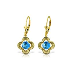 Genuine 1.10 ctw Blue Topaz Earrings 14KT Yellow Gold - REF-37X7M