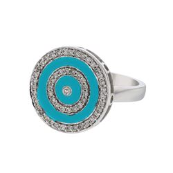 Natural 1.17 CTW Turquoise & Diamond Ring W=16MM 14K Gold - REF-93F6M