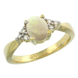 0.52 CTW Opal & Diamond Ring 10K Yellow Gold - REF-28M2K