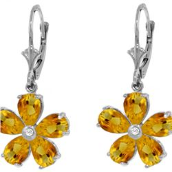 Genuine 4.43 ctw Citrine & Diamond Earrings 14KT White Gold - REF-49M8T