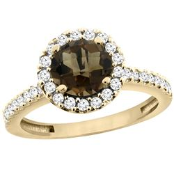 1.38 CTW Quartz & Diamond Ring 14K Yellow Gold - REF-60N8Y