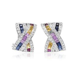 Natural 3.68 CTW Diamond Earrings 14K White Gold - REF-150T3X