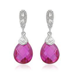 Natural 7.50 CTW Pink Sapphire & Diamond Earrings 14K White Gold - REF-36K2R