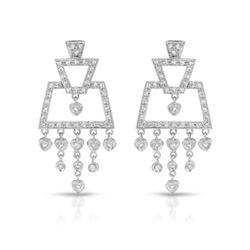 Natural 0.87 CTW Diamond Earrings 18K White Gold - REF-136K8R