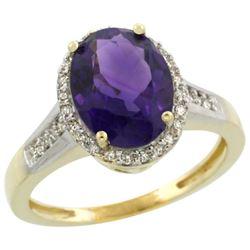 2.60 CTW Amethyst & Diamond Ring 10K Yellow Gold - REF-44F8N
