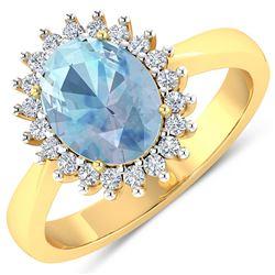 Natural 2.29 CTW Aquamarine & Diamond Ring 14K Yellow Gold - REF-45M2T